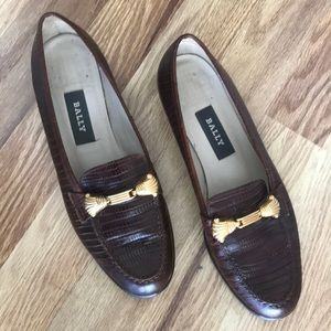 Bally Brown Leather Textured Loafers